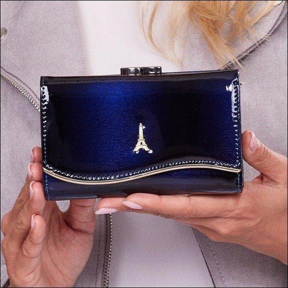 Skórzany portfel damski lakierowany granatowy Paris Design 74108
