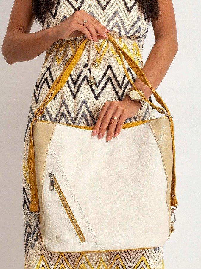 Torebka damska shopper bag 0014 kremowo żółta