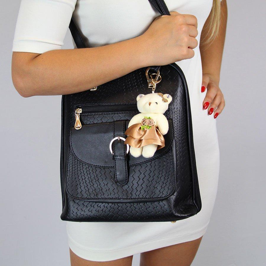 Plecak damski z misiem czarny CAT12