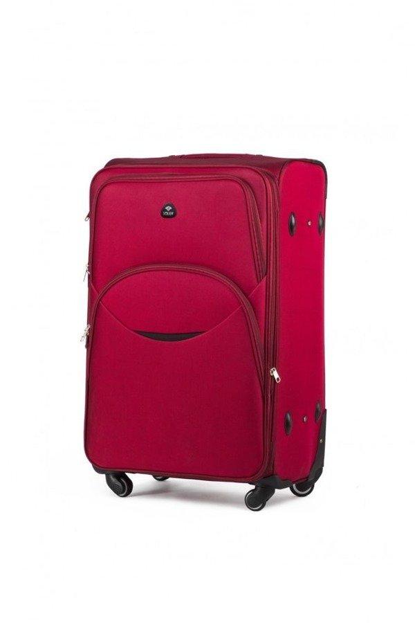 Mała podręczna walizka miękka S Solier STL1708 czerwona
