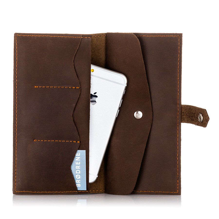 Skórzany portfel damski etui na telefon i karty Brodrene SW09 c.brązowy