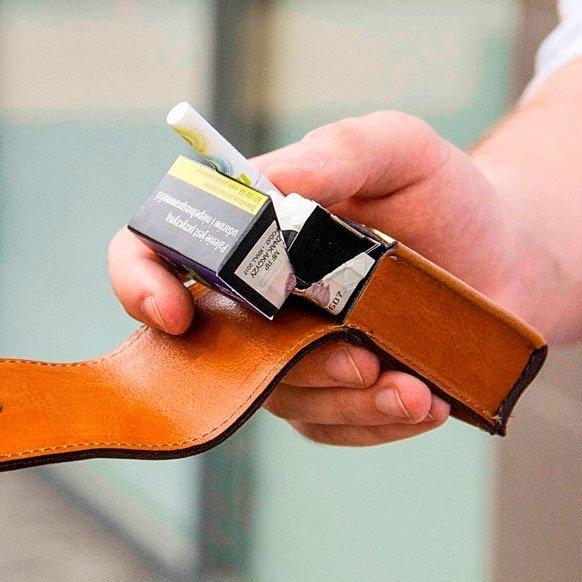 Skórzane męskie etui na papierosy SA14 STANDARD jasnobrązowe