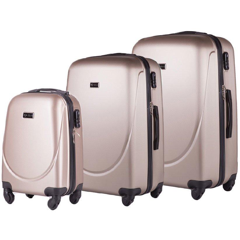 Zestaw walizek podróżnych na kółkach SOLIER STL310 ABS champagne