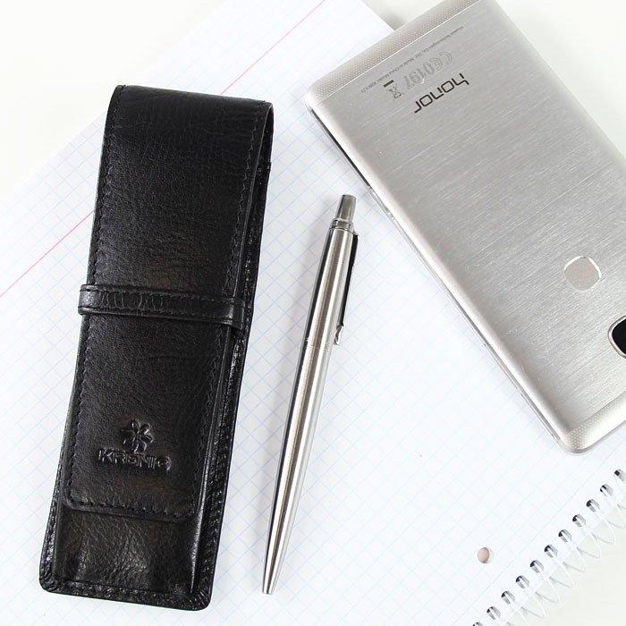 KRENIG Classic 12032 czarne skórzane etui na długopisy