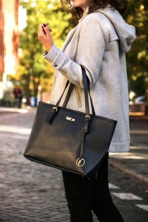Skórzana torebka damska FELICE Gold FG01 czarna