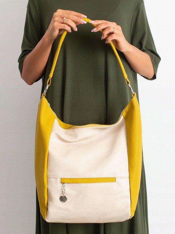 Torebka damska shopper bag worek 0007 żółto beżowa