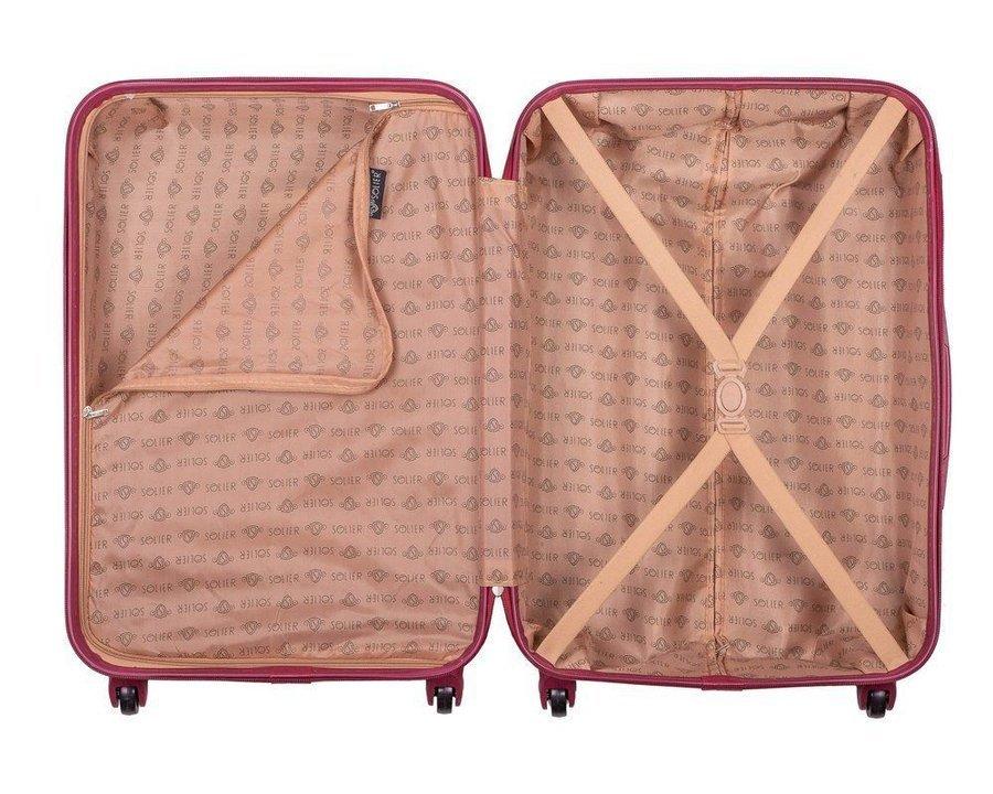 Zestaw walizek podróżnych twardych ABS SOLIER STL946 burgundowy