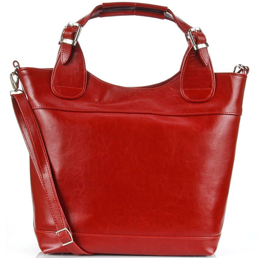DAN-A T195 czerwona torebka skórzana elegancki kuferek