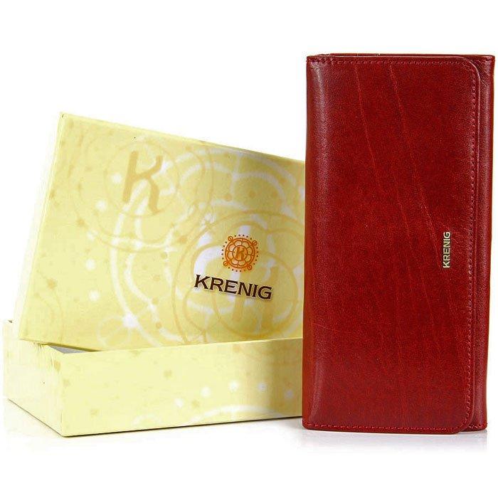 KRENIG El Dorado 11026 - EKSKLUZYWNY czerwony SKÓRZANY PORTFEL DAMSKI w pudełku