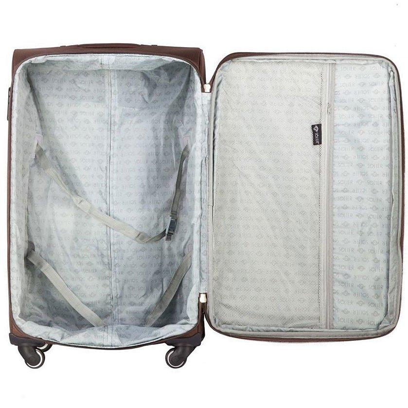 Mała podręczna walizka miękka S Solier STL1706 brązowa
