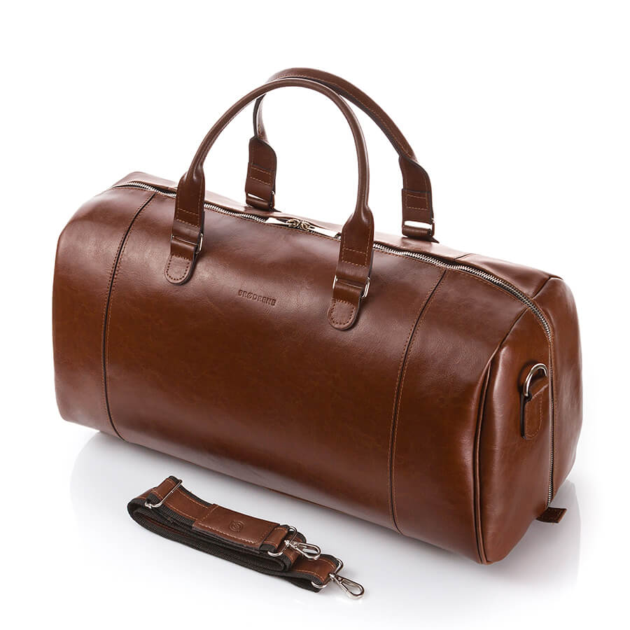 Skórzana torba męska podróżna Brodrene R30 koniakowa