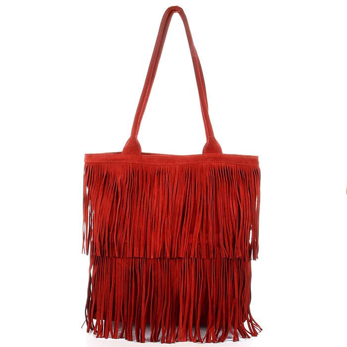 e7e7ea95696a5 Włoska torebka skórzana z frędzlami czerwona MADE IN ITALY Spalla 228