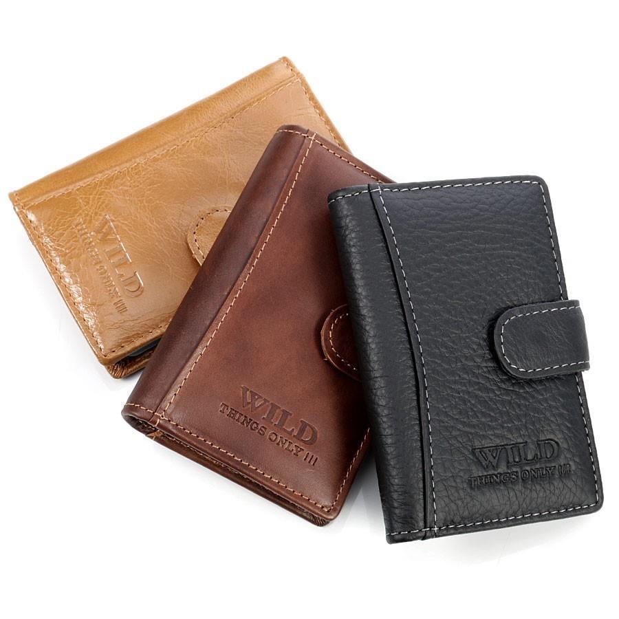 Skórzane czarne etui na dokumenty, karty, wizytówki