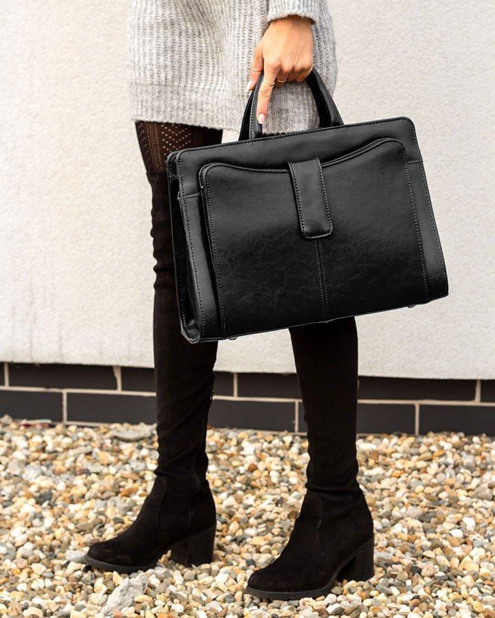 Skórzana teczka aktówka damska elegancka biznesowa czarna G5