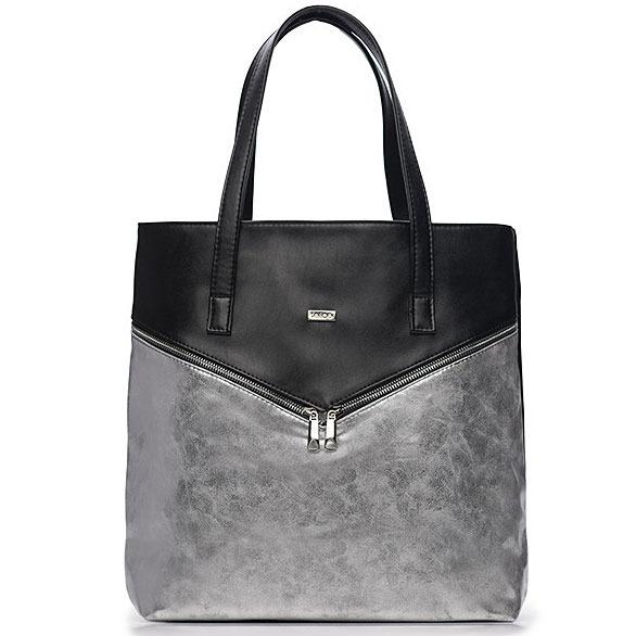 Torba damska shopper bag FELICE Verona Due srebrno-czarna